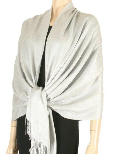 "78"" x 28"" Silky Soft Solid Pashmina Shawl / Wrap / Stole - Silver Grey"