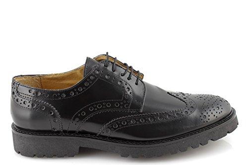 scarpe uomo eleganti classiche francesine derby oxford VERA PELLE abrasivata nere MADE IN ITALY