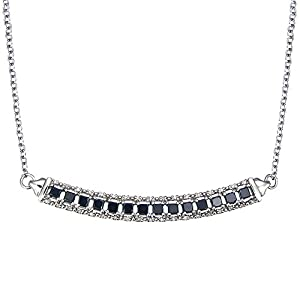 Sterling Silver Black and White Diamond Necklace (2.70 CT) With 18