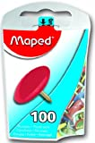 Maped Thumb Tacks in Reusable Plastic Case, 100 Tacks per Box, Assorted Colors (310011ZC)