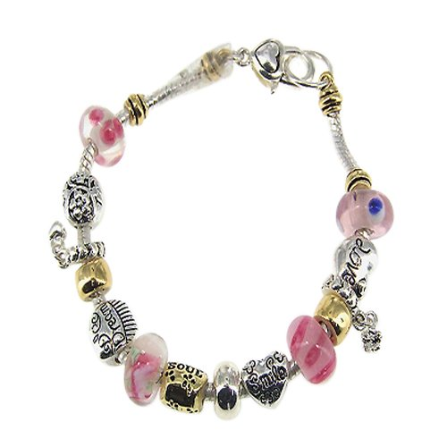 image Pink Gold and Silver Love Inspirational Theme Charm Fashion Bracelet