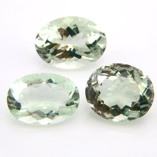 Natural Green Amethyst Loose Gemstone Oval Cut 3pcs 20.80cts 14*11mm VS Grade