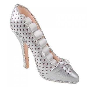 High-heel Dot Shoe Ring Display Jewelry Holder - Silver