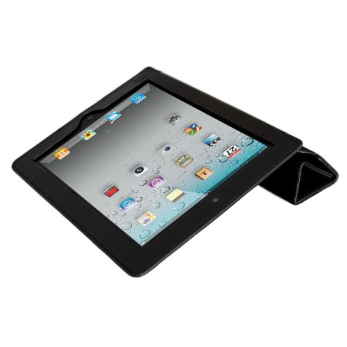Mivizu Sense Leather Cover Case for Apple iPad 2 with Stand and Sleep Feature for iPad 2G, 3G/Wifi (ciPD2mvzSMRTblk)