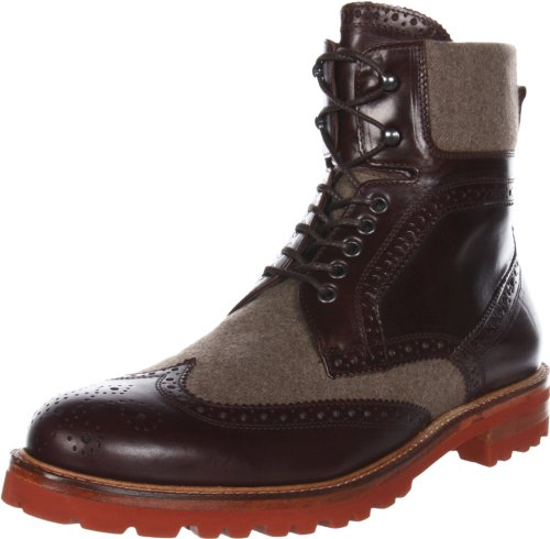 Rev Bruno Magli Men's Paciano Lace-up Boot,Dark Brown Leather/Dark Taupe Fabric,12 M US