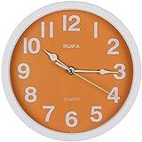 RUIFA Indoor Silent 8-Inch Precedent Decorative Wall Clock with Arabic Numerals (Orange)