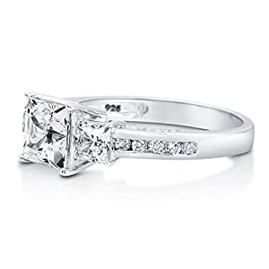 BERRICLE Sterling Silver Princess Cut Cubic Zirconia CZ 3 Stone Womens Engagement Wedding Ring from BERRICLE