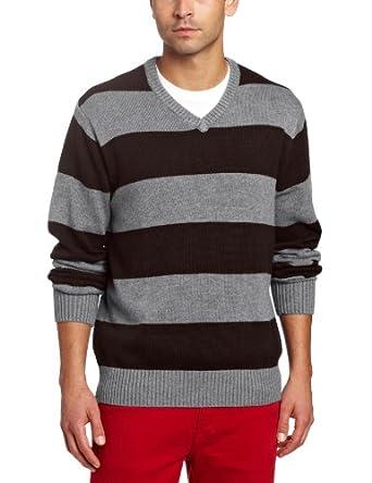 Spring+Mercer Men's Rugby V-Neck Sweater, Bramble Combo, X-Large