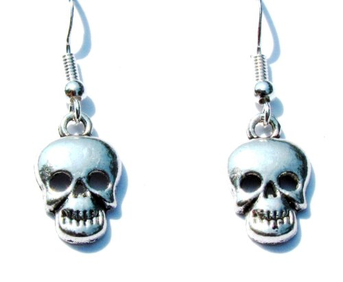 Halloween Skull Earrings in Silver on 925 Sterling Silver Earwires, .6