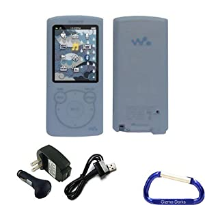 Gizmo Dorks Silicone Skin Cover (Clear) and Charger Bundle with Carabiner Key Chain for the Sony Walkman S Series (S764)
