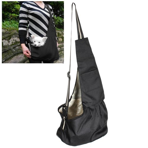 Small Black Oxford Cloth Sling Pet Dog Cat Carrier Bag