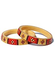 7Craft Antique Hand Painted Red-Golden Bangles Or Kadas For Women (Size 2-8)