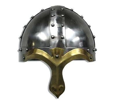 RedSkyTrader Mens Norman Crusader Helmet One Size Fits Most Metallic