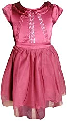 Herberto Girls' Party and Evening Dress (HRBT-DRESS062-1_Maroon_3 - 4 years)
