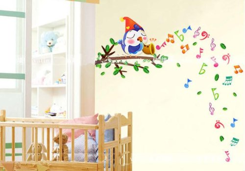 A Singing Bird On Branch Nursery Wall Decor Baby Boys Girls Children'S Room Decal Cute Bird Notes Baby Bedroom Wall Art Sticker Removable front-196899