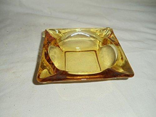 "Vintage Anchor Hocking 4 3/4"" Square Yellow Amber Glass Ashtray Cigar Cigarette"