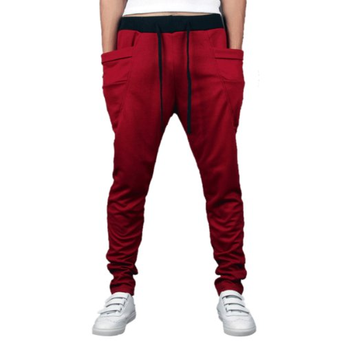 Aubig Hip-Hop Baggy Casual Drawstring Elastic Waist Harem Pants Leisure Sports Trousers Wine Red Size M