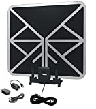 Vilso Flat HD Digital Indoor Amplified TV Antenna - 65 Miles Range - Detachable Amplifier Signal Booster - Antenna Stand - 12ft Coax Cable - Black