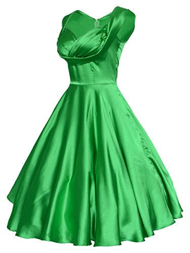 Maggie Tang Women's 1950's 60s Solid Color Vintage Garden Dress L Green