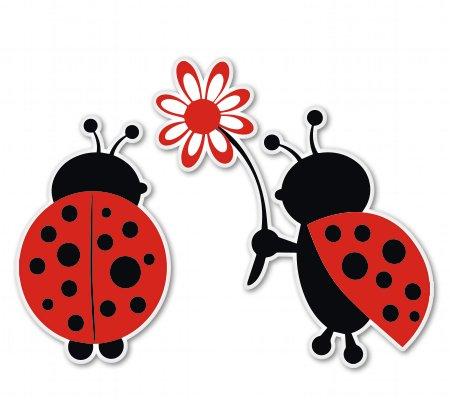 Ladybug Love Cute Vinyl Sticker - Car Window Bumper Laptop - SELECT SIZE (Car Company Decals compare prices)
