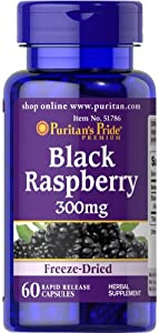 Puritan's Pride 2 Pack of Black Raspberry Freeze-Dried 300 mg Dried 300 mg-60 Capsules