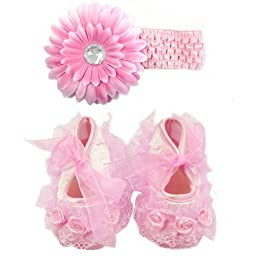 Wrapables Rose and Lace Princess Shoes for Baby Girls, Pink Size 10