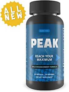 PEAK Male Enhancement Pills - Natural Penis Enlargement Formula For Natural Growth - Top Rated Testosterone Booster For Longer Erections - Increase Your Size, Length, & Girth - Sexual Enhancement Pills For Maximum Male Performance - 60 Capsules, 30 Day Supply - Made in USA
