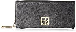 Calvin Klein Saffiano Clutch, Black/Gold, One Size