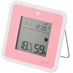 ELECOM 温湿度警告計「goud」 (ゴウド)  熱中症・インルエンザ対策 ピンク OND-01PN
