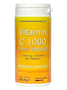 Vitamin C 1000mg TIME RELEASED 240 Tabletten Made in Germany glutenfrei Premium Qualität