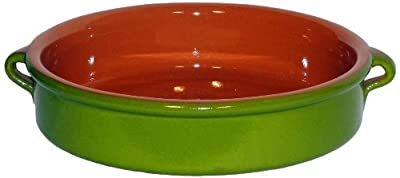 Amazing Cookware 25cm Terracotta Round Dish - 'Pearlescent Green' by Amazing Cookware