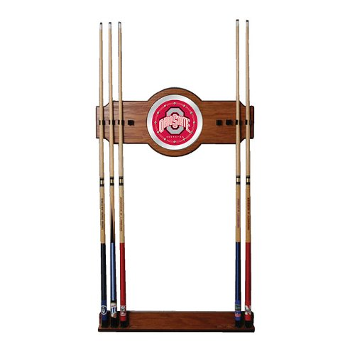 The Ohio State University Wood and Mirror Wall Cue Rack - Game Room Products Billiards NCAA - Colleges Billiard Cue Rack