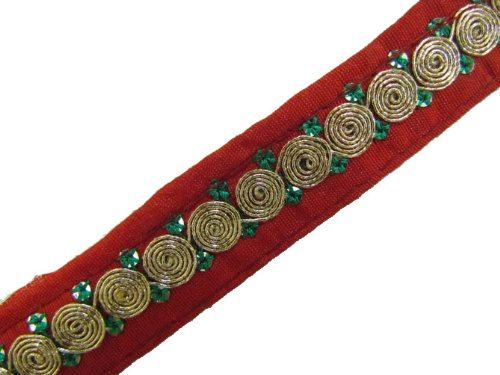 1 Y Red Base Gold Thread Cord Embroidered Sewing Trim Lace New