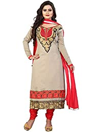 Yehii Semi Stitched Salwar Suit For Women Free Size Party Wear Dress Material Grey | Chanderi , Cotton , Chiffon...