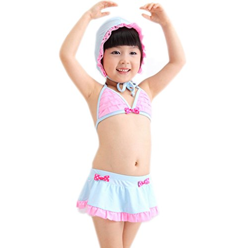Speeyd Big Girls Kids Children Swim Swimsuit Bikini Bathing Suit 0-10T Swimwear Bluepink2