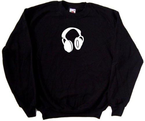 Headphones Music Black Sweatshirt (White Print)-Xxx-Large
