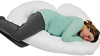 J Shaped- Premium Contoured Body Pregnancy Maternity Pillow with Zippered Cover