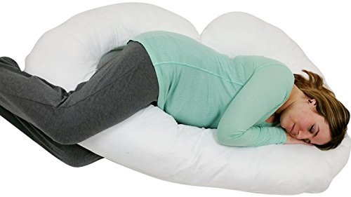 J Shaped- Premium Contoured Body Pregnancy Maternity Pillow with Zippered Cover - White - Exclusively by Blowout Bedding RN# 142035