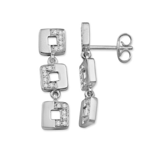 Diamond Earrings, 18ct White Gold, Diamond Three-tier Squares, 0.17 carat Diamond Weight, by Miore, M0293W