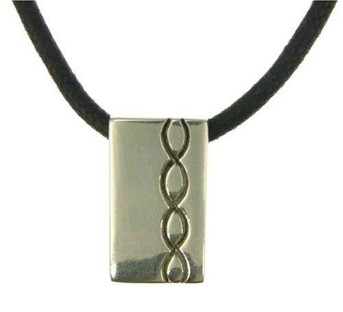 Men's Oblong Patterned Pendant Necklace, Silver Chain, 43cm Length, Model C71/P6096