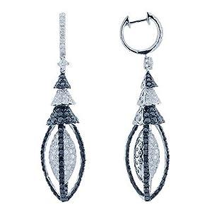 White and Black Diamond Designer Lantern Earrings In 18K White Gold