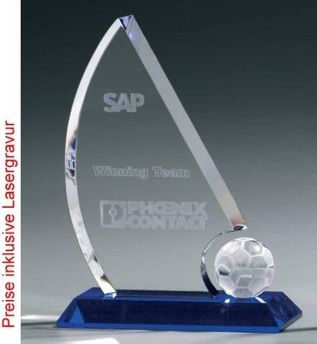 Soccer Sail Award, Kristall Glas – Trophäe, Höhe:210 mm jetzt bestellen