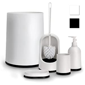Relaxdays Black and White Bathroom Accessory 5-Pcs Set Plastic: Amazon.co.uk:...