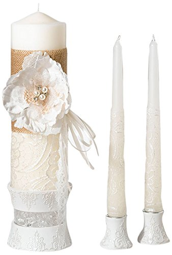 Lillian Rose Burlap and Lace Candle Set, 10-Inch