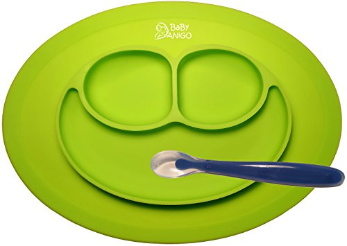 No More Dining Mess - Baby Feeding One-Piece Mini Happy Face Placemat and Plate with First Step Spoon By BaBy ANiGO - 100% Food Grade BPA Free & FDA Approved Silicone - Anti Spill Surface Suction (Baby Food High Chair compare prices)