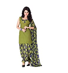 BanoRani Womens Mehendi Green Color PolyCotton Printed UnStitched Dress Material (Patiala)