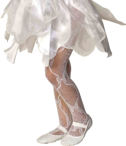 Rubie's Costume Co Mesh Bow Tights-White Costume, Medium