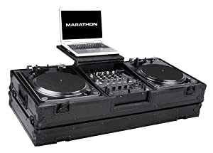 Marathon Flight Road Blk Series Case MA-DJ12Wltblk Battle DJ Turntable Case for 12-Inch Mixers with Laptop Shelf