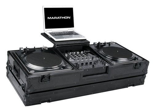 Marathon Flight Road Blk Series Case Ma-Dj12Wltblk Battle Dj Turntable Case For 12-Inch Mixers With Laptop Shelf