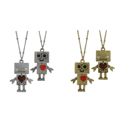 High-Fashion Antique Silver or Brass Tone Robot Pendant Necklace-46 + 5 CM